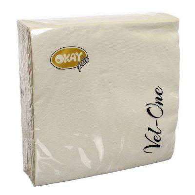 60 Tovaglioli in carta ovatta colorati Velone 40x40 cm panna