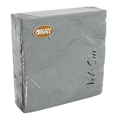 60 Tovaglioli in carta ovatta colorati Velone Okay 40x40 cm grigi
