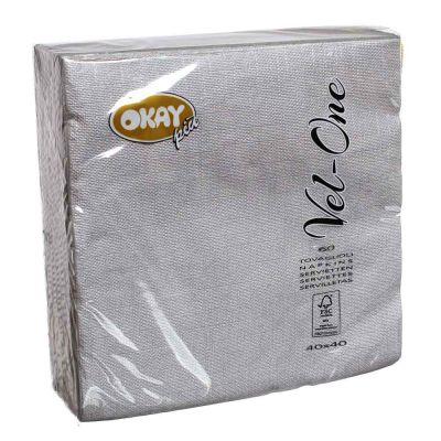 60 Tovaglioli in carta ovatta colorati Velone Okay 40x40 cm argento