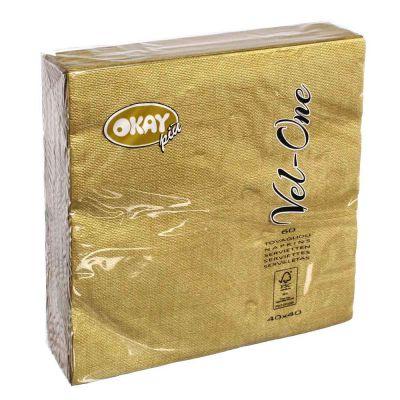 60 Tovaglioli in carta ovatta colorati Velone Okay 40x40 cm oro