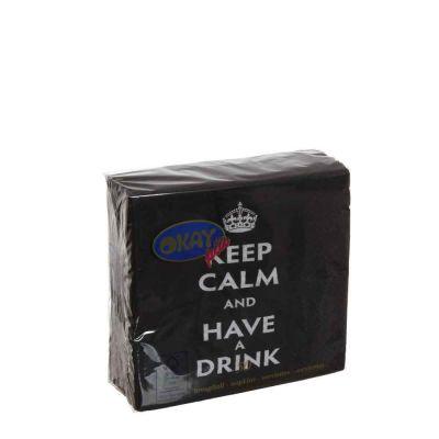 50 Tovaglioli da cocktail in carta 2 veli 25x25 Okay Keep Calm nero