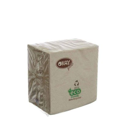 100 Tovaglioli da cocktail in carta ovatta riciclata 2 veli 25x25 Okay ecrù