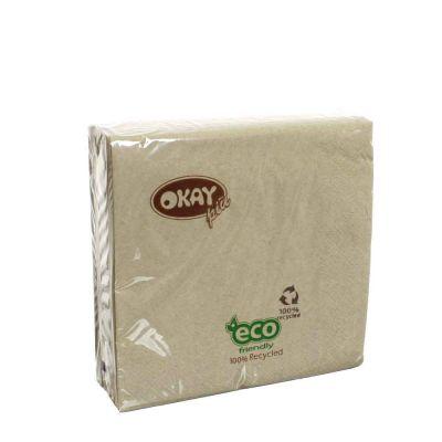 50 Tovaglioli di carta ovatta riciclata 2 veli 33x33 Okay ecru