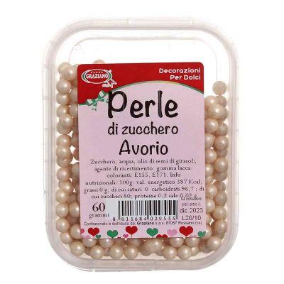 Perle di zucchero color avorio per decorazione torte 60 g