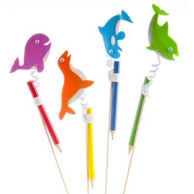 Decorazioni per dolci e gelati - Delfini con matita