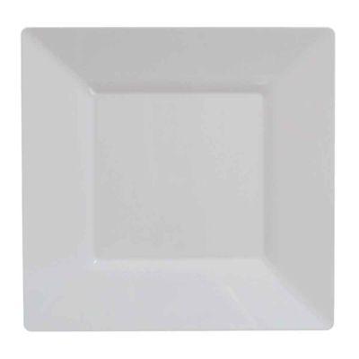 Piatti di plastica rigida quadrati Spigolo bianco 27x27 cm