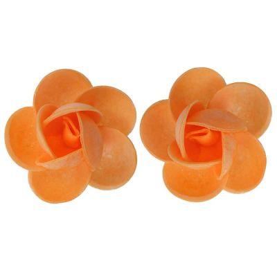 Rose di cialda ostia grandi arancioni per decorazione 2 pz.