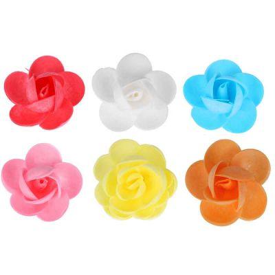 Rose di cialda fiori grandi di ostia colorati per decorazione 2 pz.