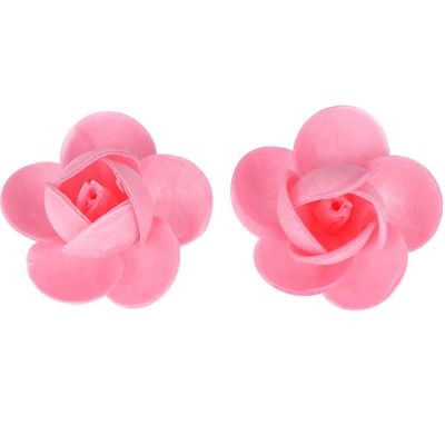 Rose di cialda fiori grandi di ostia rosa per decorazione 2 pz.