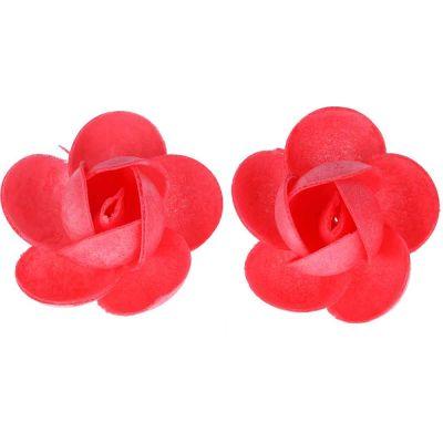 Rose di cialda fiori grandi di ostia rossi per decorazione 2 pz.