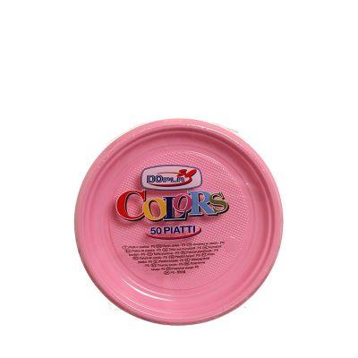 Piatti di plastica colorati per feste DOpla Colors Ø17 rosa