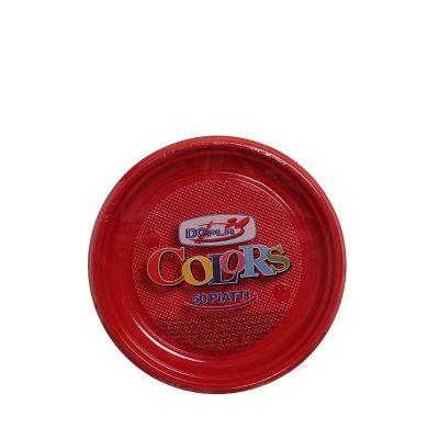 Piatti di plastica colorati per feste DOpla Colors Ø17 rosso