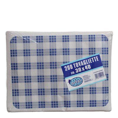 Confezione tovagliette americane usa e getta Astor 30x40 scozzese blu