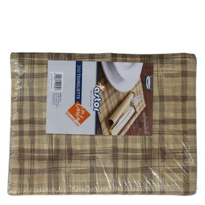 Confezione tovagliette americane usa e getta Astor 30x40 scozzese marrone