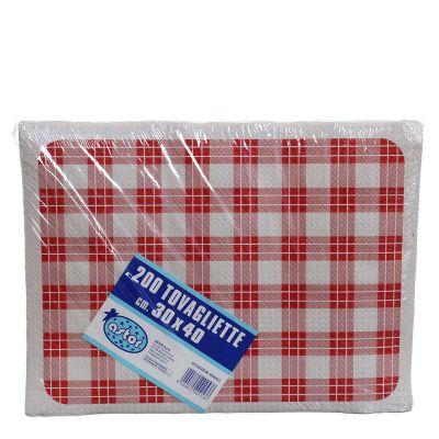 Confezione tovagliette americane usa e getta Astor 30x40 scozzese rosso