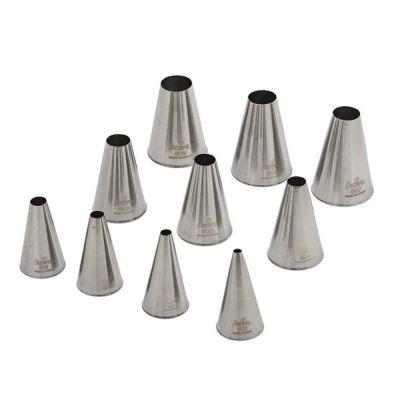 Kit 10 Beccucci cornetti tondi grandi lisci in acciaio inox misure assortite