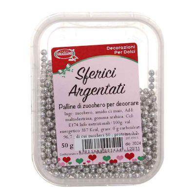 Palline di zucchero sferici color argento per decorare 50 g