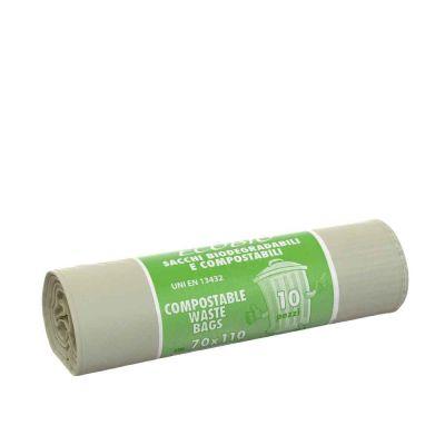 10 Sacchi compostabili per raccolta umido EcoBio 70x110 cm