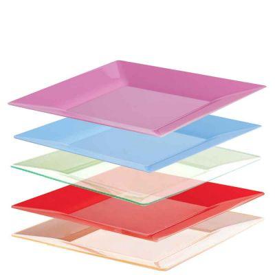 25 Piatti di plastica rigida quadrati design moderno Spigolo 23x23cm