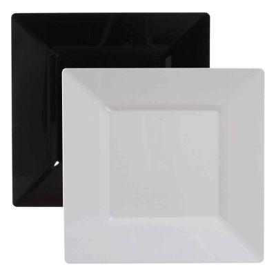 25 Piatti di plastica rigida quadrati grandi Spigolo 27x27cm