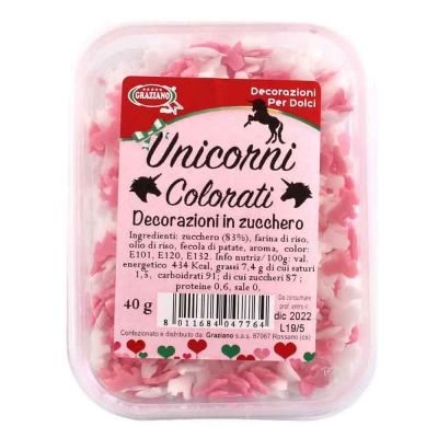 Unicorni di zucchero colorati bianchi e rosa per decorazione torte 40 g