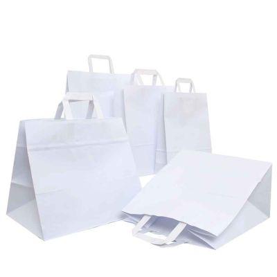 200 Shopper buste in carta bianche tinta unita con manici piatti