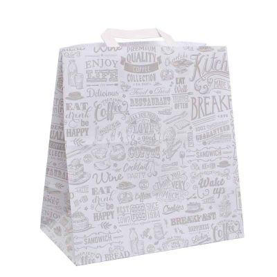 200 Shopper buste in carta Bianco con manici per asporto con stampa 27x16 h29 cm