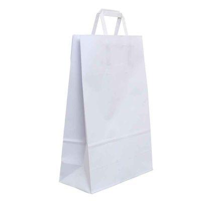 200 Shopper buste in carta bianche tinta unita con manici 22x10 h32 cm