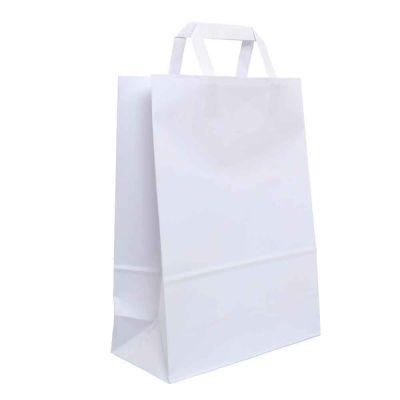 200 Shopper buste in carta bianche tinta unita con manici 27x12 h36 cm