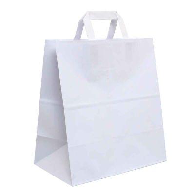 200 Shopper buste in carta bianco tinta unita da asporto 27x16 h29 cm