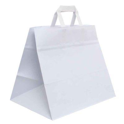 200 Shopper buste in carta bianco tinta unita da asporto 32x21 h27 cm