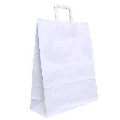 200 Shopper buste in carta bianche tinta unita con manici 36x12 h41 cm