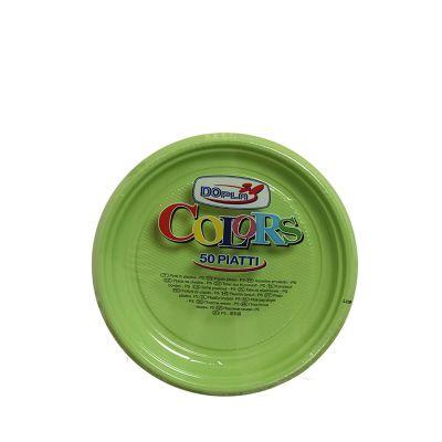 50 Piatti di plastica colorati per feste DOpla Ø17 verde acido