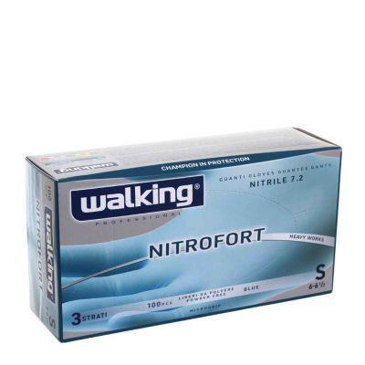 100 Guanti nitrile monouso Walking Nitrofort 3 strati S 6-6,5