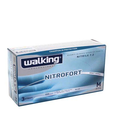 100 Guanti nitrile monouso Walking Nitrofort 3 strati M 7-7,5