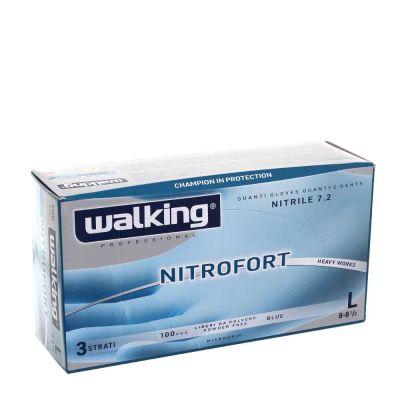 100 Guanti nitrile monouso Walking Nitrofort 3 strati L 8-8,5