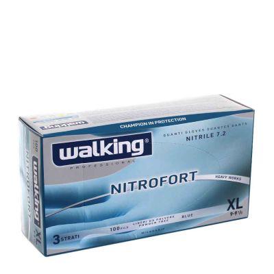 100 Guanti nitrile monouso azzurri Walking Nitrofort 3 strati XL 9-9,5