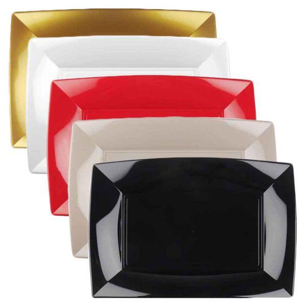 6 Vassoi rettangolari lavabili da esposizione colorati 34x23 cm