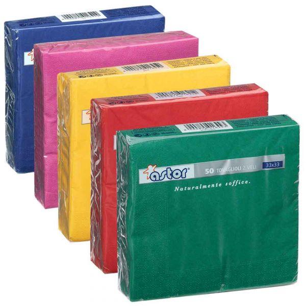 50 Tovaglioli di carta ovatta colorati 2 veli 33x33 Astor