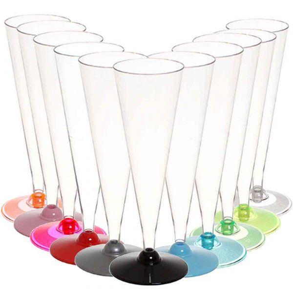 120 Flutes conici calici di plastica monouso con base colorata