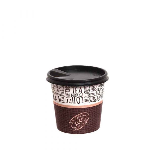 100 Bicchierini da caffè in cartoncino Juta con coperchio a beccuccio 120ml