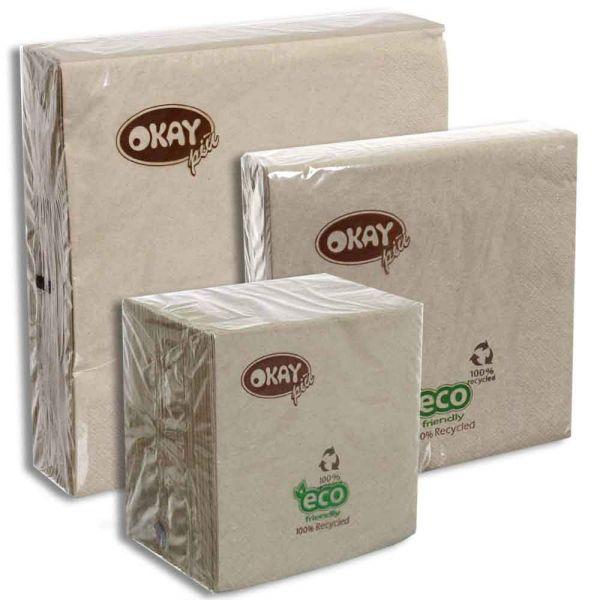 Tovaglioli in carta ovatta riciclata ecofriendly Okay ecru naturale