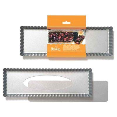 Stampo rettangolare per crostata fondo mobile antiaderente 35x11x2,5h cm Decora