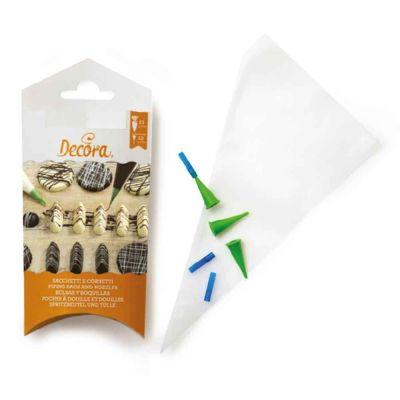 Set 10 Tasche da pasticcere monouso con beccucci cornetti a punta fine