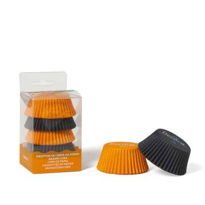 75 Pirottini in carta neri e arancio per cottura muffin Ø5 x h 3,2 cm Decora