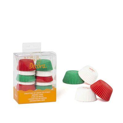 200 Pirottini in carta bianchi rossi e verdi per mini muffin Ø3,2 x h 2,2 cm Decora