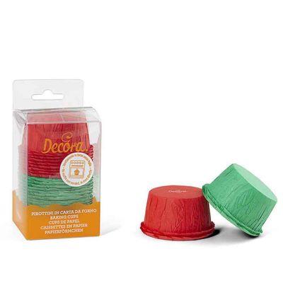 25 Pirottini per muffin rossi e verdi increspati in carta Ø5,5 x h 3,5 cm Decora