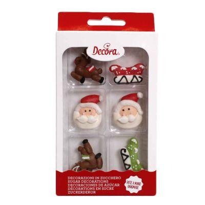 6 Decorazioni in zucchero Santa Claus personaggi assortiti