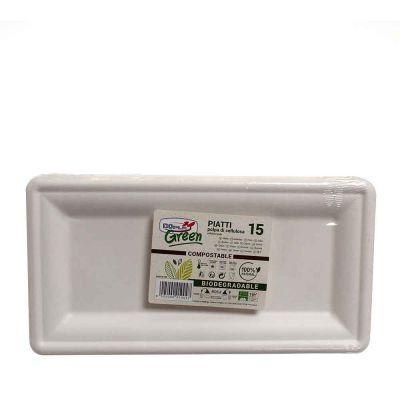 Vassoi piatti rettangolari in polpa di cellulosa DOpla Green 29,5x15,5 cm