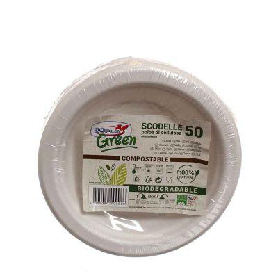 Piatti fondi scodelle in polpa di cellulosa DOpla Green Ø16 cm